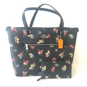 Coach Gallery Tote Black Floral Purse Wallet Set